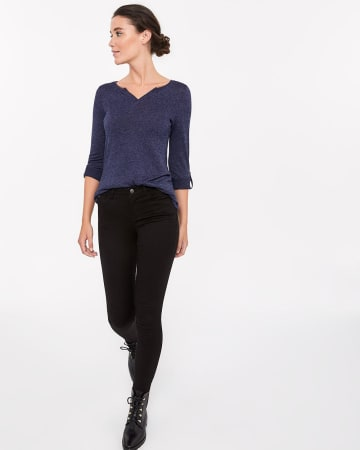 Henley Top with 3/4 Sleeves