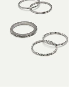 5-Pack Textured Rings