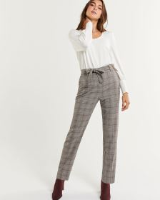 High Rise Peg Leg Glen Plaid Pants with Removable Sash