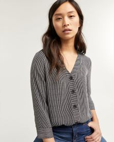 3/4 Sleeve Striped Buttoned-Down Blouse