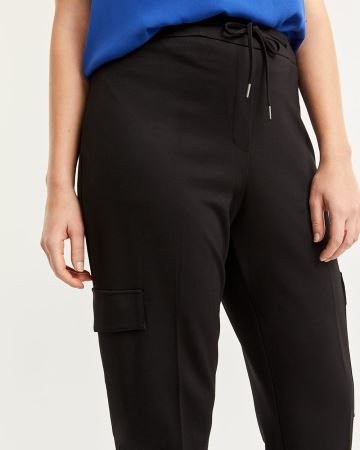 Black Tapered Cargo Pull On Pants with Drawstring - Petite