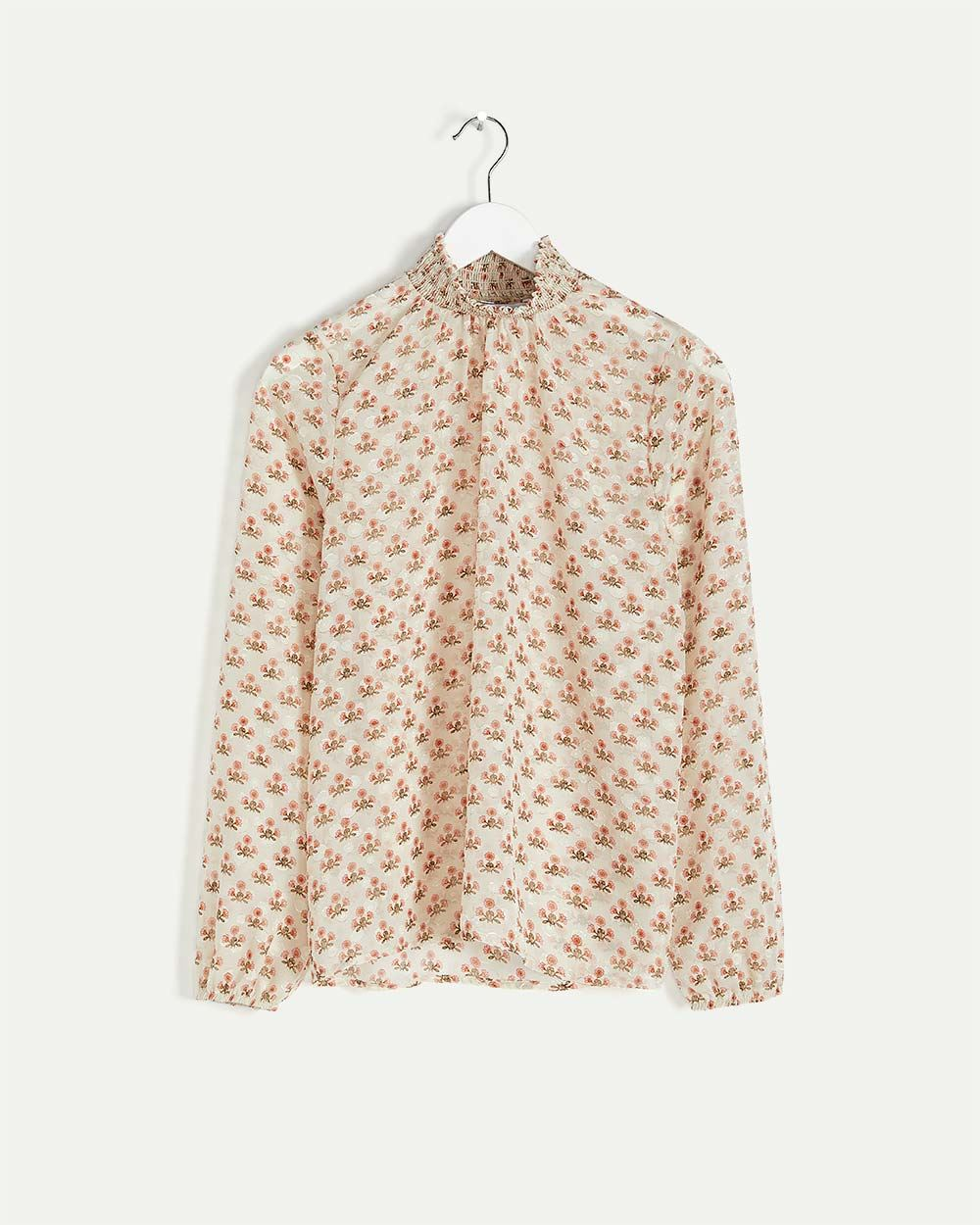 Long Sleeve Printed Blouse with Smocked Neck