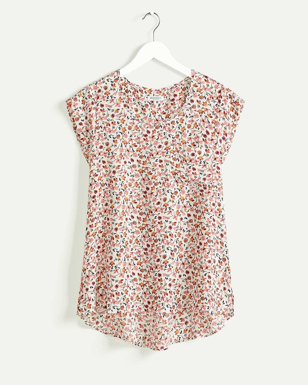 Cap Sleeve Scoop Neck Printed Blouse R Essentials