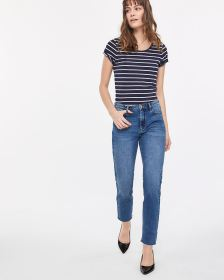 High Rise Rip Hem Straight Leg Jeans