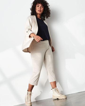 Linen-Look Striped Capri Pants The Iconic