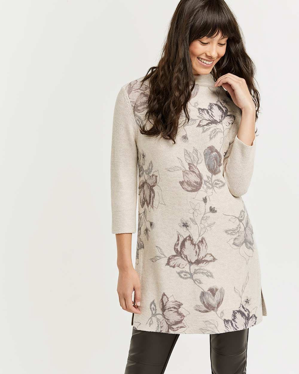 3/4 Sleeve Mock Neck Tunic with Floral Print