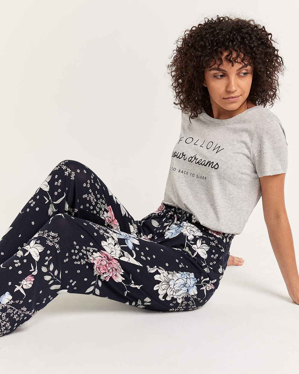 Printed Pyjama Straight Pants with Drawstring