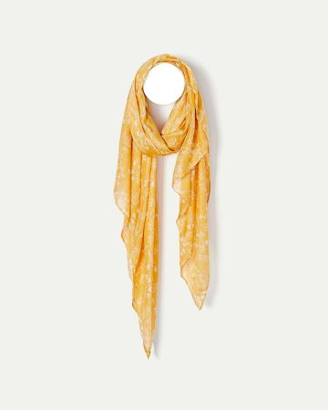 Yellow Ditsy Floral Print Oblong Scarf