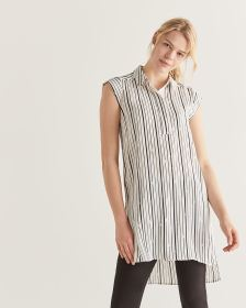 Striped Cap Sleeve High-Low Tunic - Petite