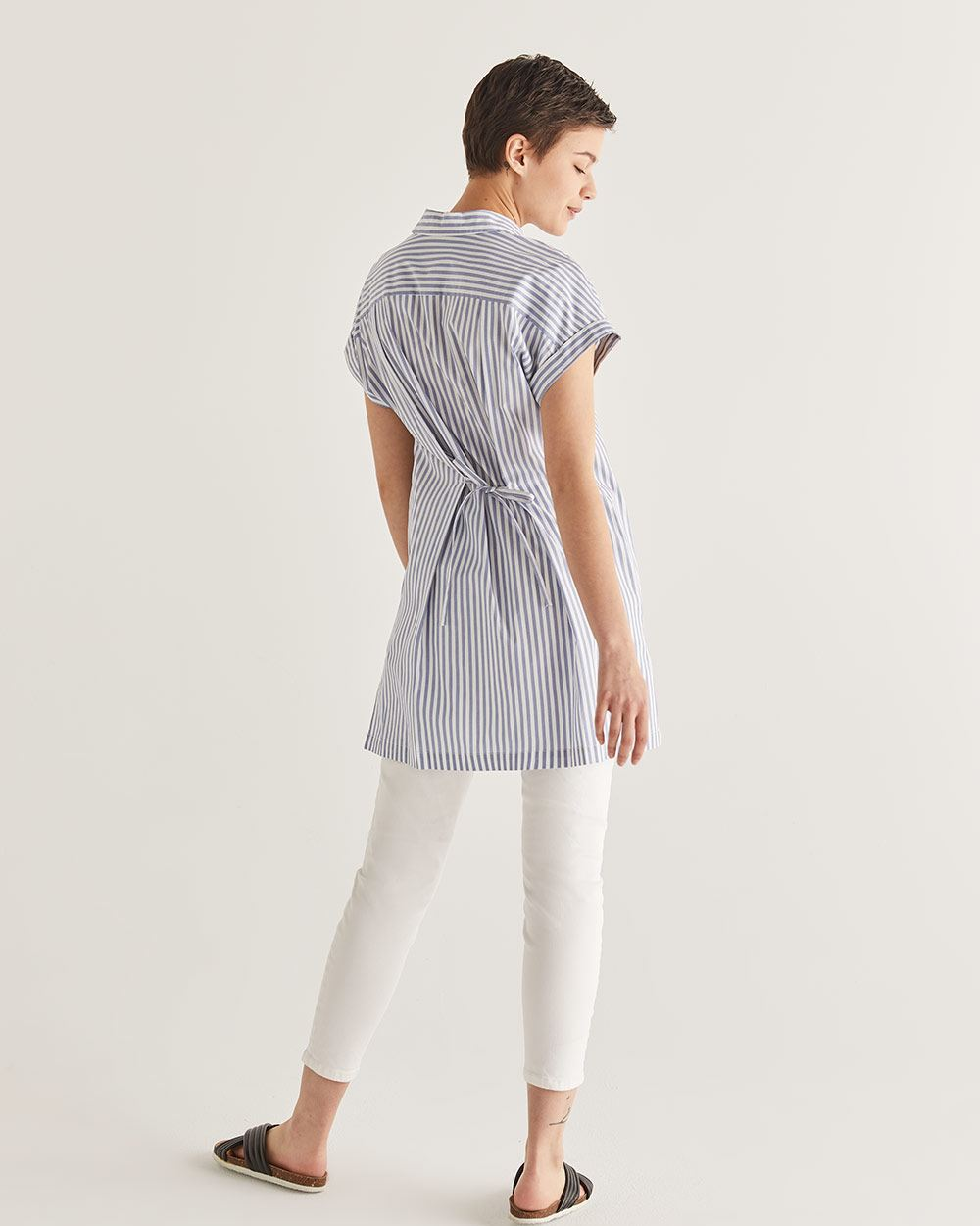 Cotton Stripe Pattern Tunic