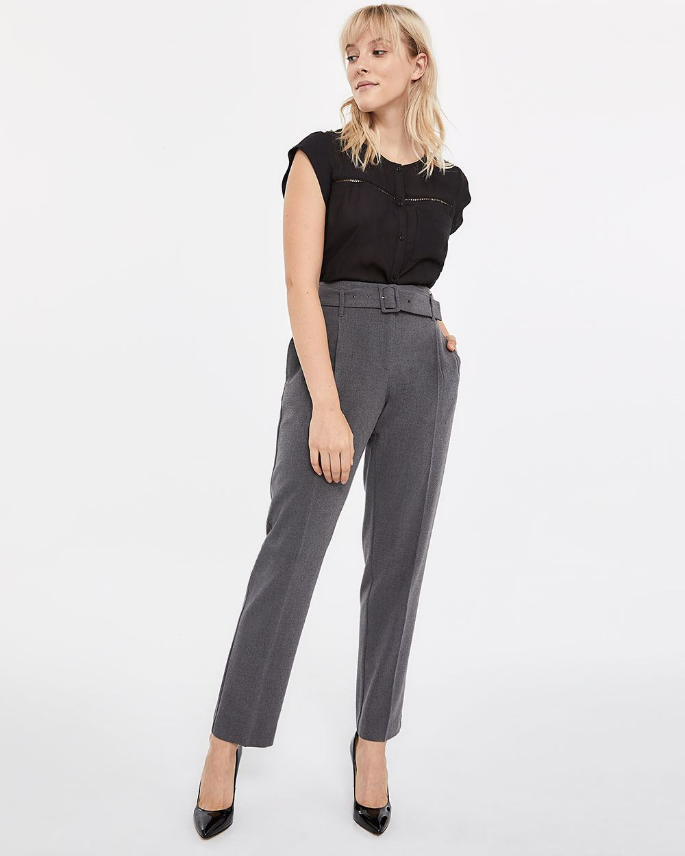 Petite Belted Straight Leg Pants