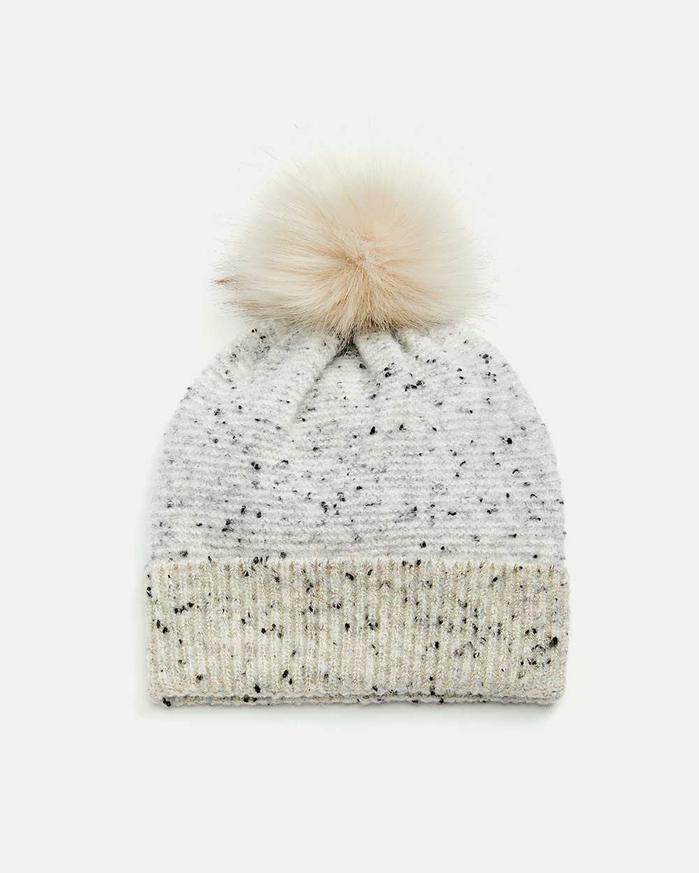 Nep Yarn Knit Hat with Pompom