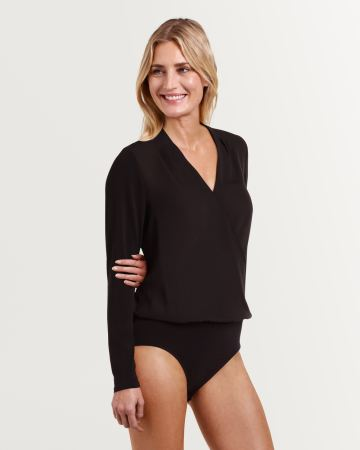 Long Sleeve Wrap Neckline Bodysuit