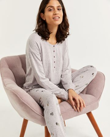 Henley Neck Pyjama Set with Jogger Pants