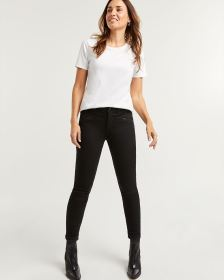 Black Skinny Jeans with Zip Details - Petite