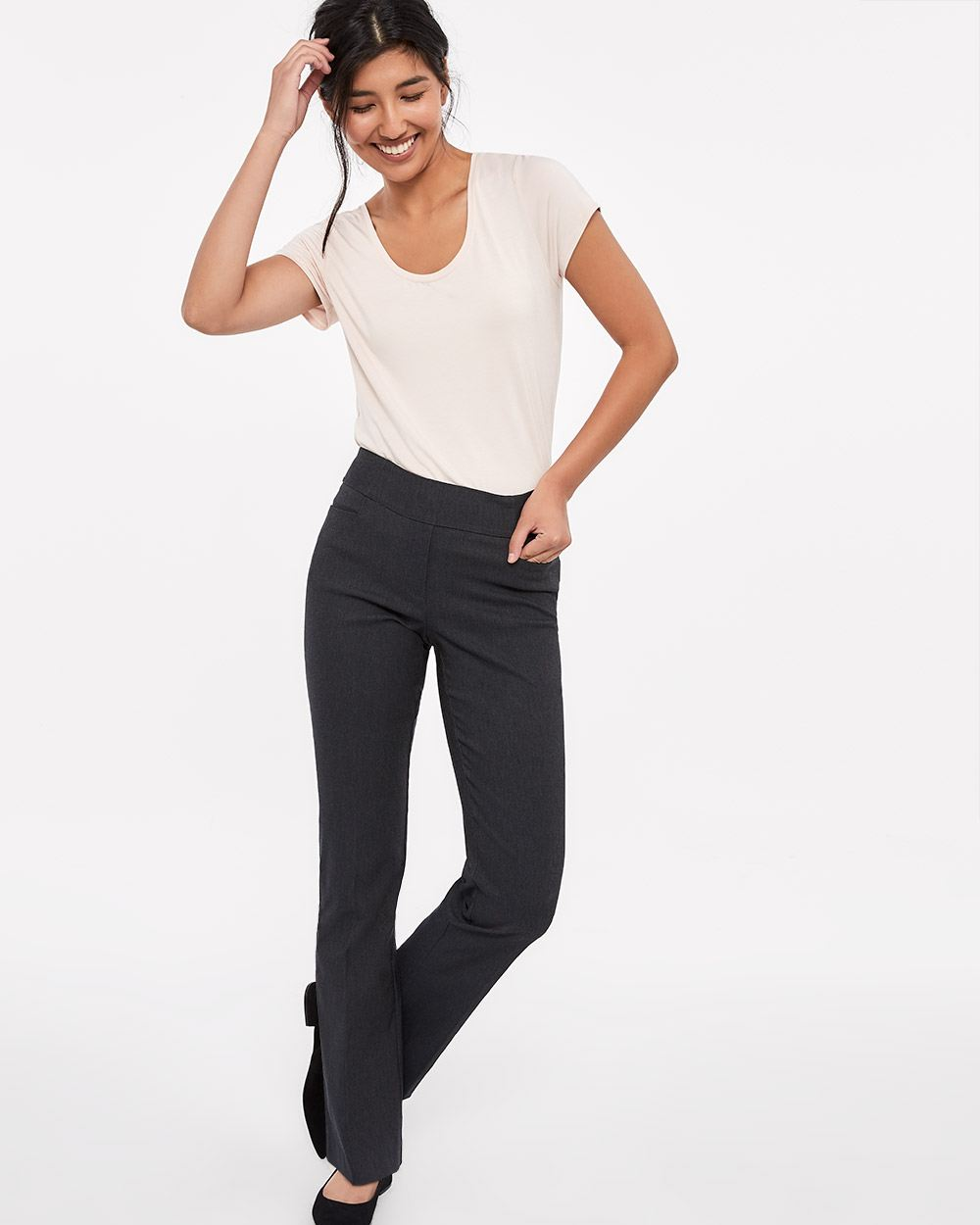The Iconic Boot Leg Grey Melange Pants