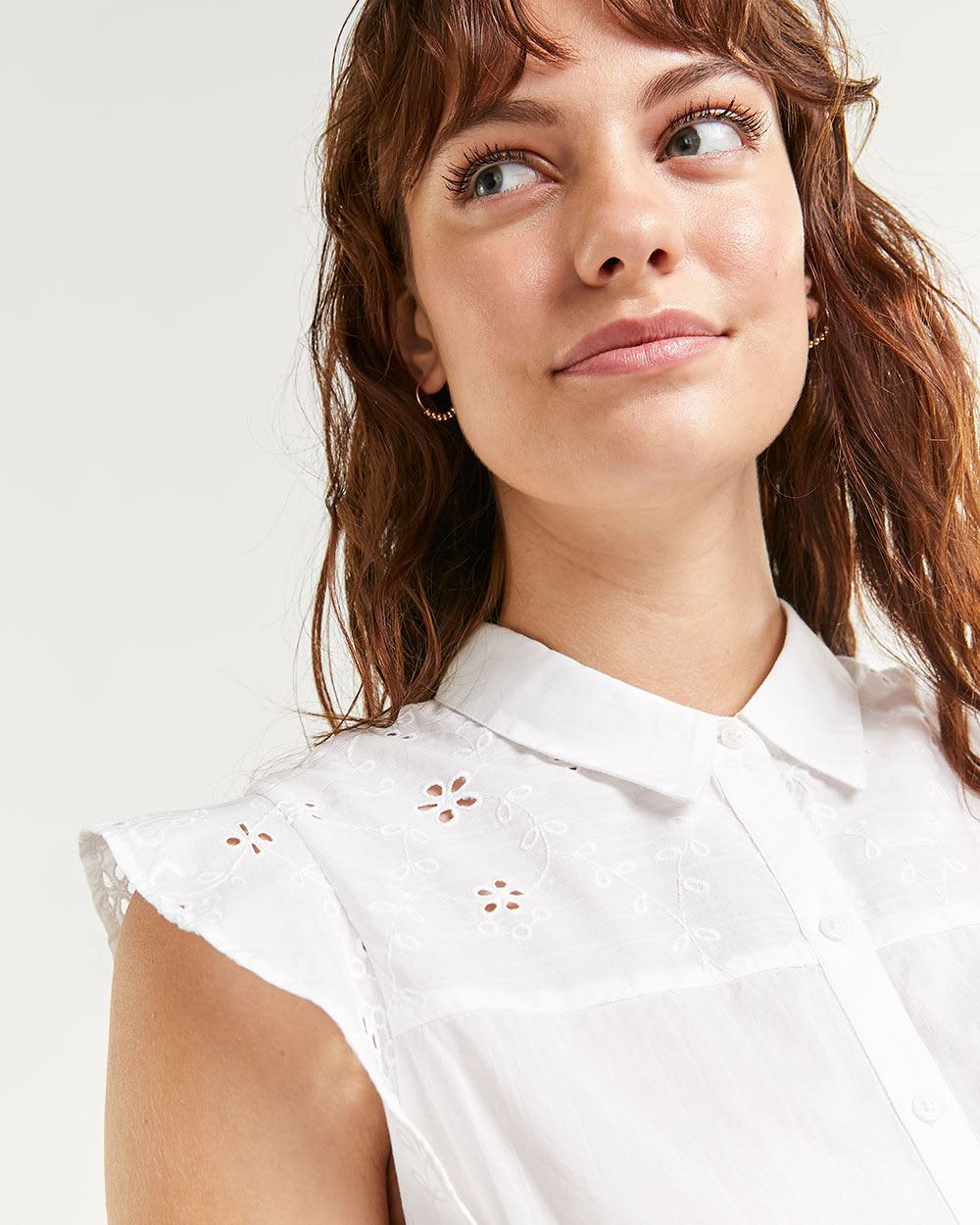 Front Tie Flutter Sleeve Blouse with Eyelets