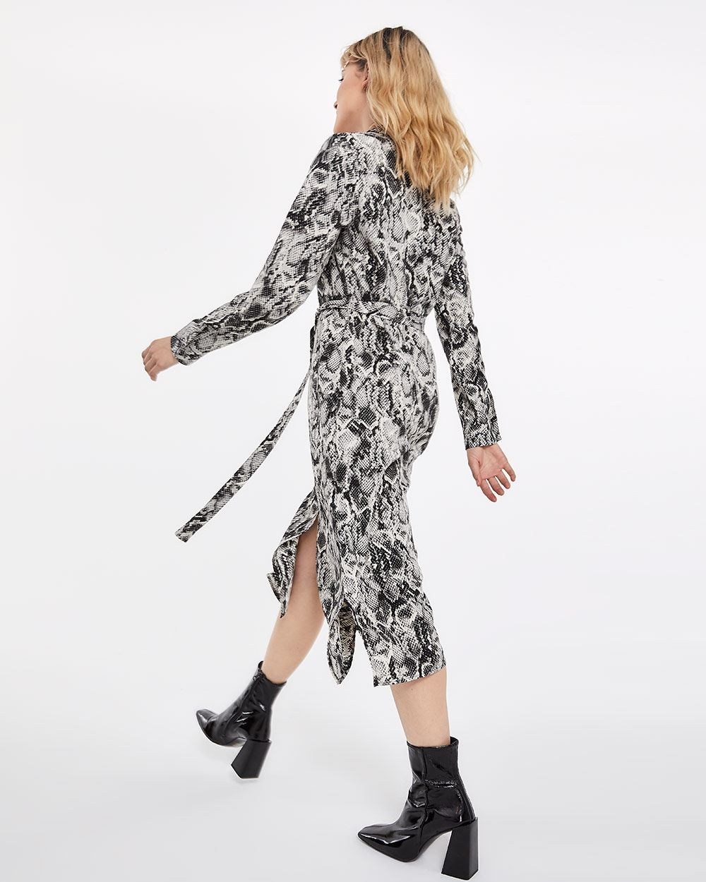 Snake Print Sash Midi Shirt Dress