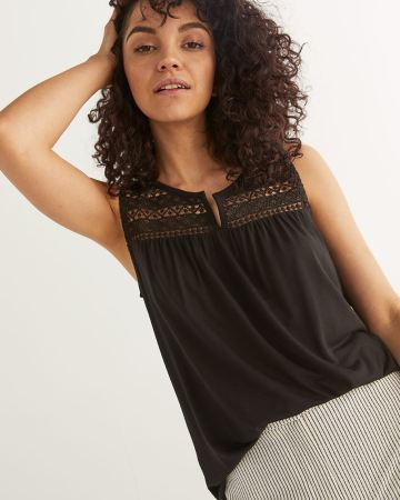 Sleeveless Top with Crochet Yoke