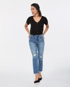 Petite High Rise Frayed Hem Straight Leg Jeans