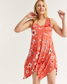 Sleeveless Printed Swing Dress with Handkerchief Hem