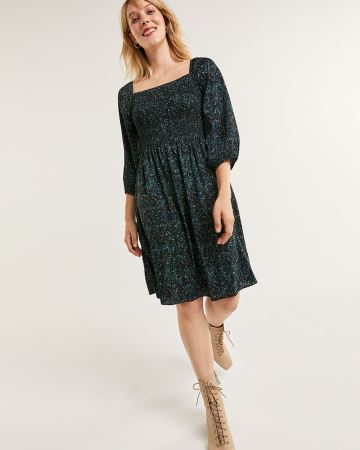 3/4 Balloon Sleeve Square Neck Printed Swing Dress