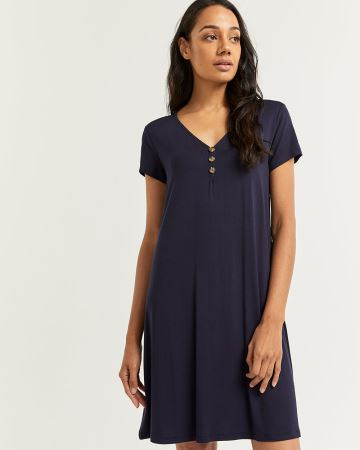 Short Sleeve Swing Dress with Buttons