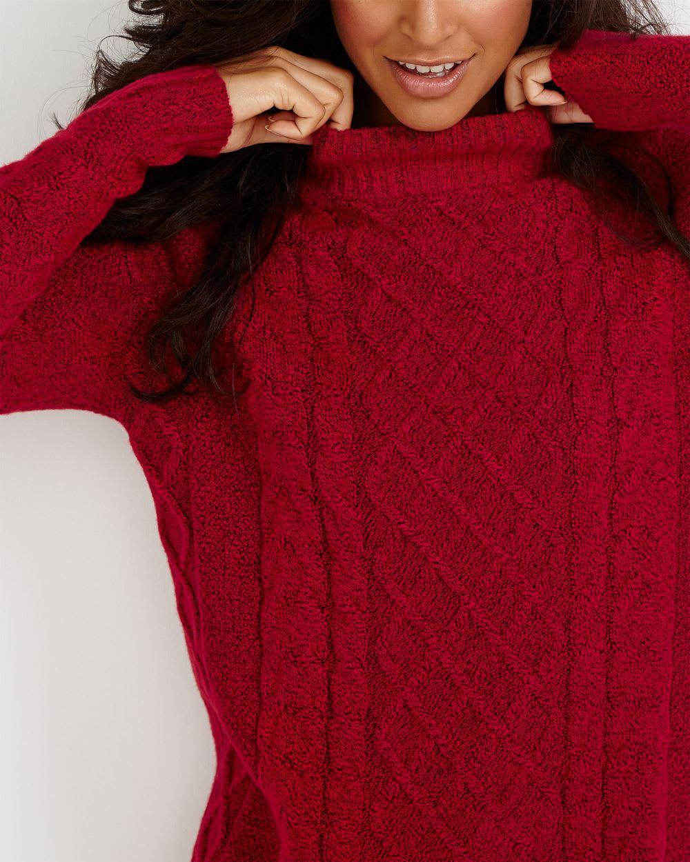 Mock Neck Tunic Sweater