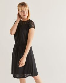 Crochet Insertion Elastic Waist Dress