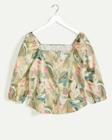 Square Neck Printed Blouse