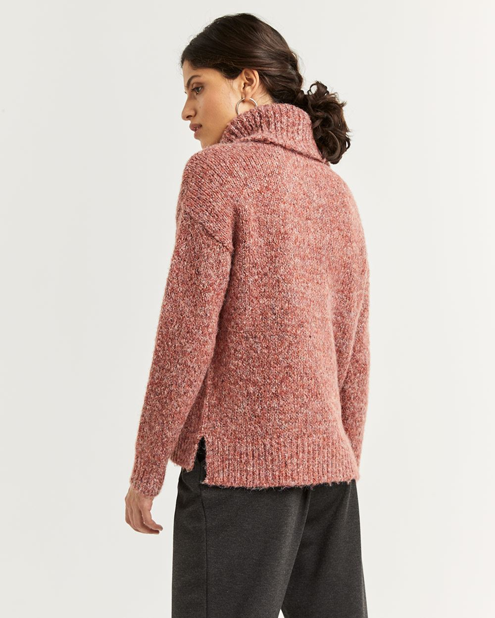 Wide Turtleneck Marled Sweater