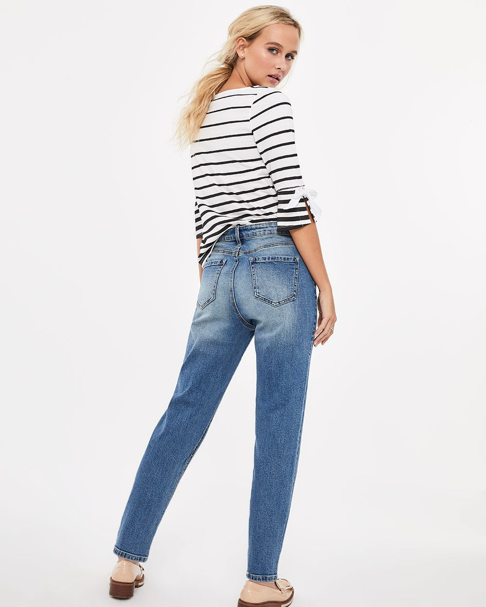 High Rise Medium Wash Straight Leg Jeans
