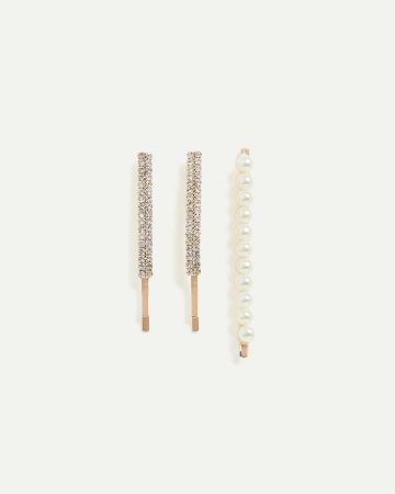 3-Piece Hair Clips with Pearls & Stones