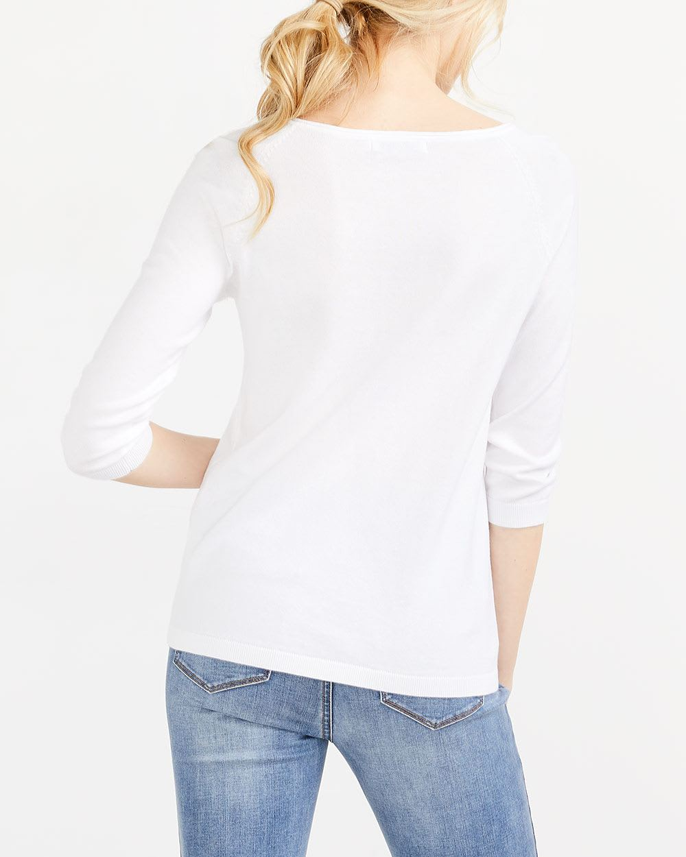 R Essentials ¾ Sleeve V-Neck Sweater