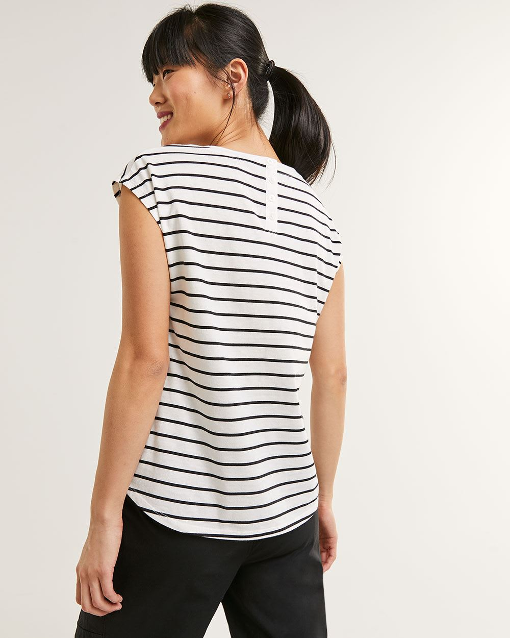 Drop Shoulder Sleeve Scoop Neck Tee