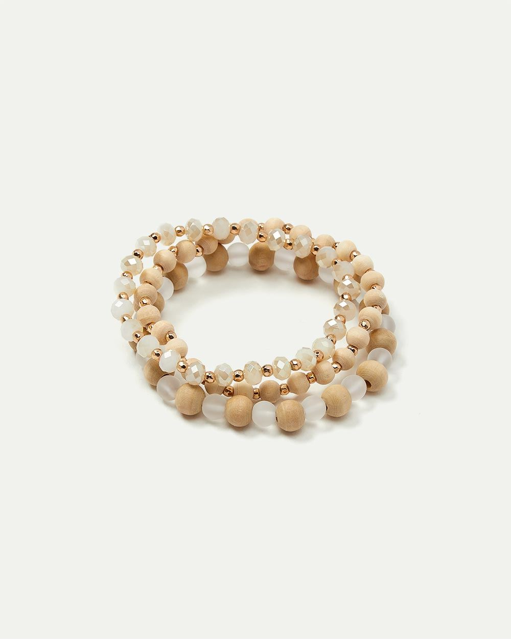3-Pack Wood and Glass Bead Bracelets