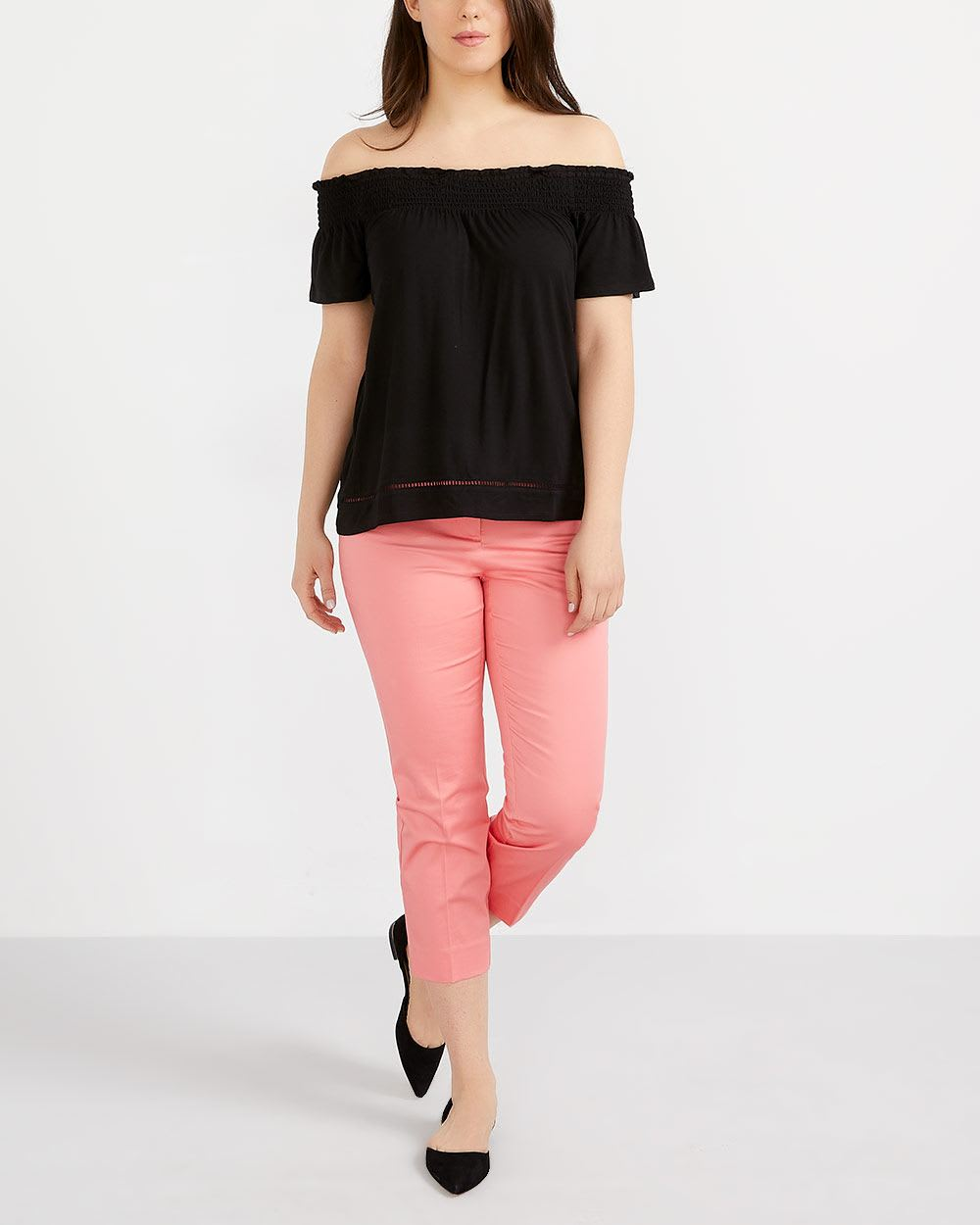 Smocking Cold-Shoulder Top