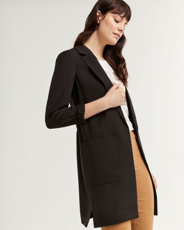 Notched Collar Blazer with Pockets