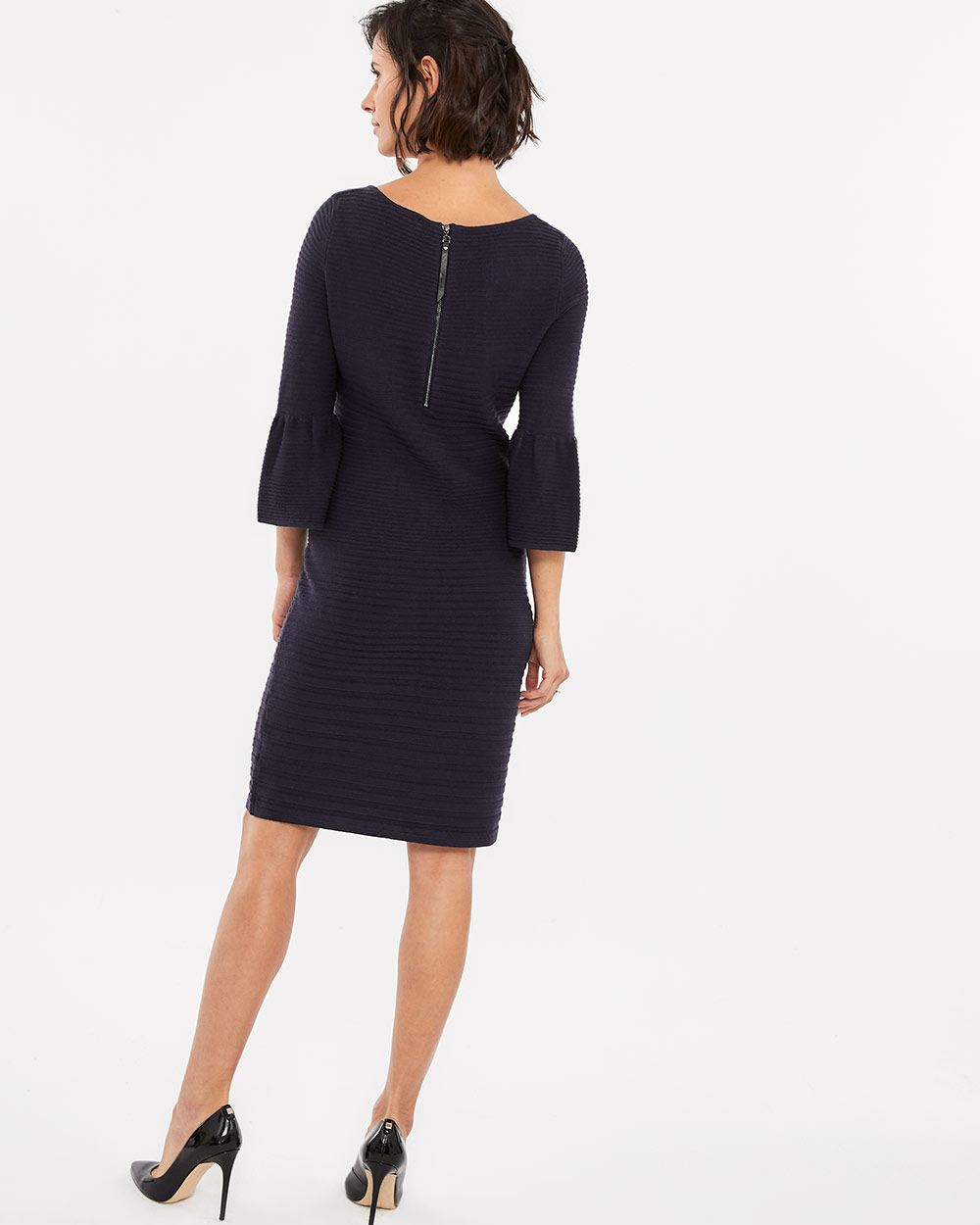 Bell Sleeve Boat Neck Dress