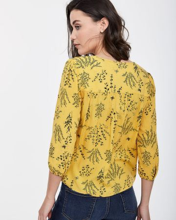3/4 Sleeve Peasant Blouse with Pintucks - Petite