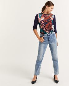 High Rise Frayed Hem Slim Leg Jeans