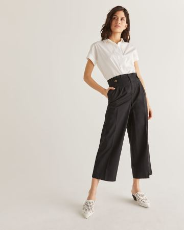 Cotton Wide Leg Ankle Pant
