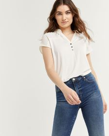 Short Sleeve Mix Media Tee with Polo Collar - Petite