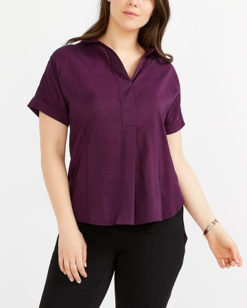 Dolman Short Sleeve Solid Blouse