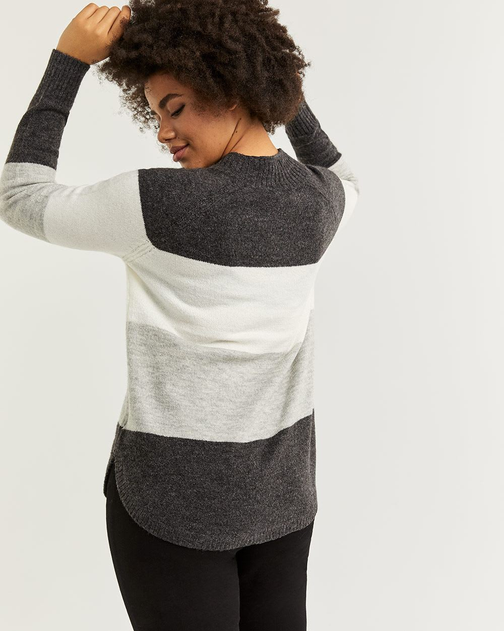 Striped Mock Neck Sweater with Pointelle Detail