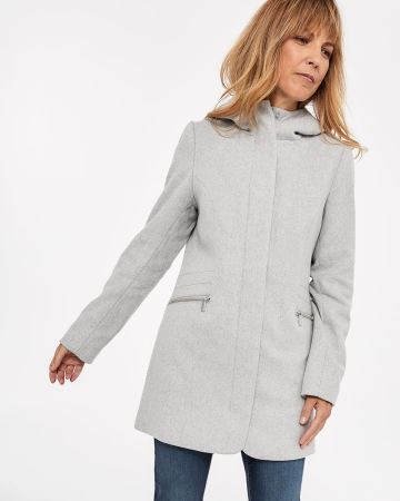 Wool-blend Funnel Neck Coat with Hood