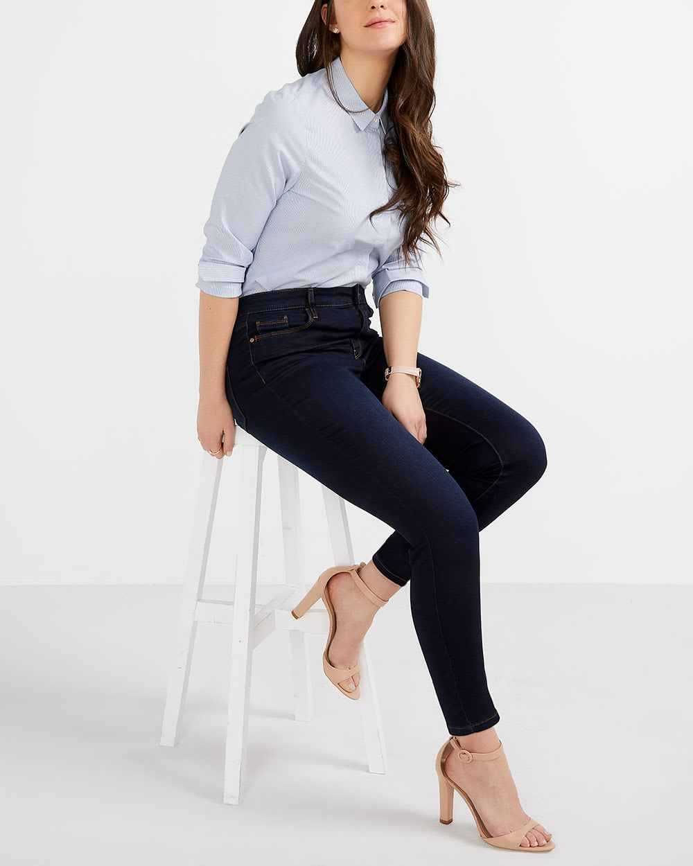 The Signature Soft Dark Wash High Rise Skinny Jeans