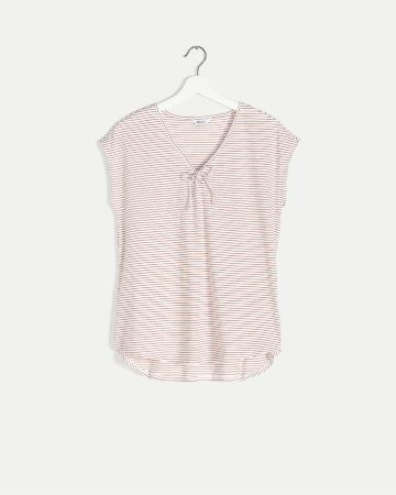 V-Neck Striped Tee with Knot