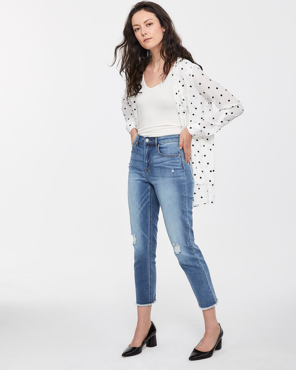 High Rise Frayed Hem Straight Leg Jeans