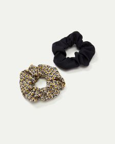 2-Pack Floral & Black Scrunchies